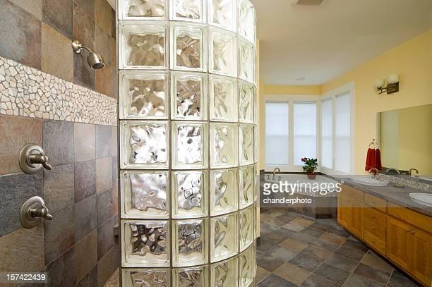 Glass brick shower