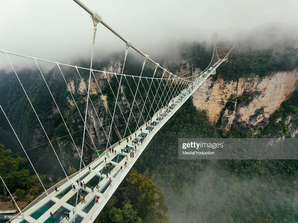 Glass bridge of Zhangjiajie China : Stock Photo