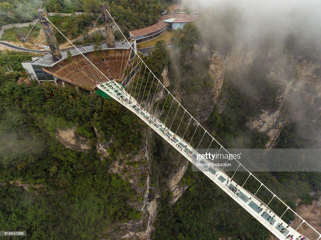 Glass bridge of Zhangjiajie China : Foto de stock