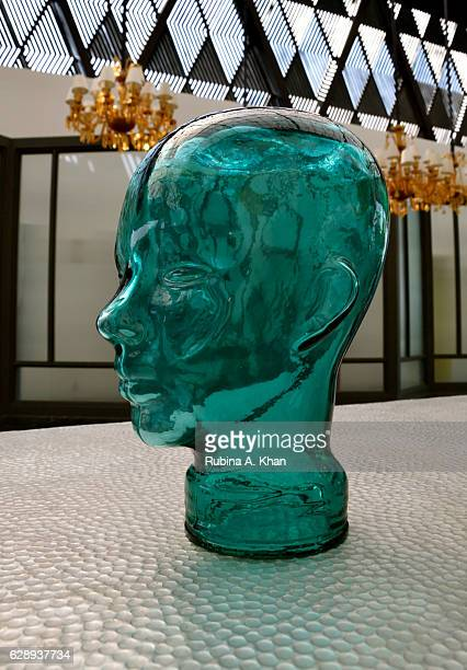A glass bust at the foyer of the first W in India the W Goa on December 10 2016 in Goa India
