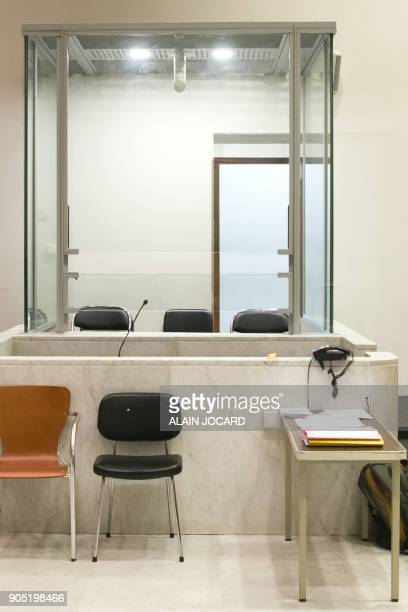A glass cage is seen in a courtroom on January 15 in Nanterre's courthouse near Paris Lawyers from all over France pleaded on January 15 in front of...