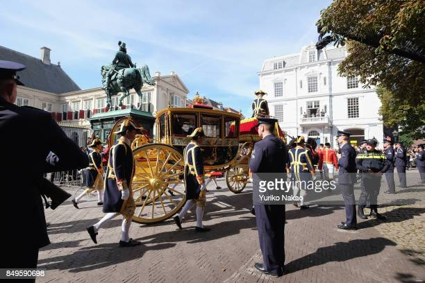 Glass Carriage carrying Dutch King WillemAlexander and Queen Maxima arrives at the Palace Noordeinde during the Prinsjesdag on September 19 2017 in...