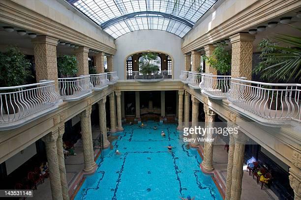 Glass ceiling above pool at landmark Gellert Spa.