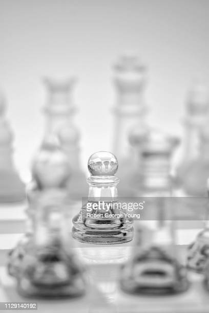 Glass Chess Pieces on a Glass Chess Board Featuring a Pawn