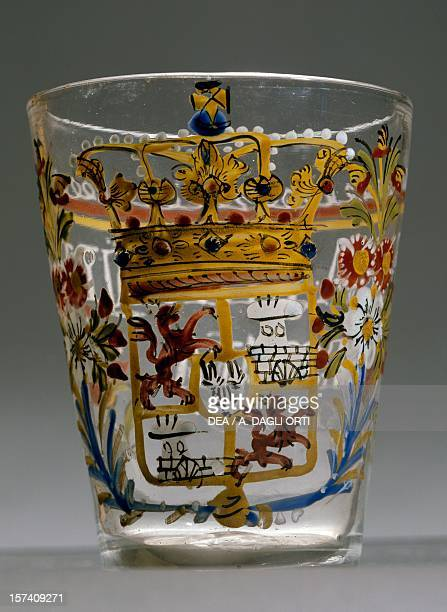 Glass decorated in enamel with the Spanish coat of arms Spain 18th century Murano Museo D'Arte Vetraria