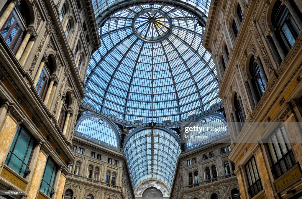 Glass dome of the Galleria Umberto I shopping centre in Naples : Stock Photo
