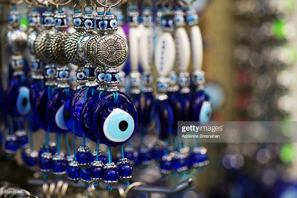 Glass Evil Eye Keychains : Stock Photo