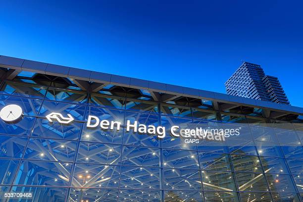 glass facade of The Hague's central railway station