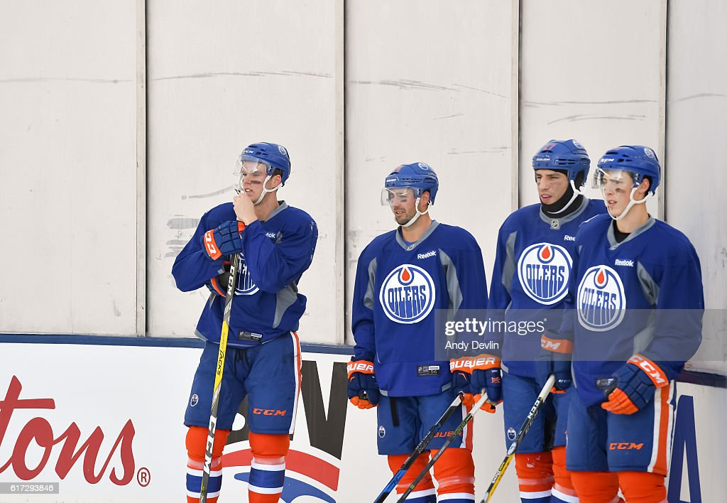 Glass fogs up during the Edmonton Oilers practice in advance of the 2016 Tim Hortons NHL Heritage Classic game at Investors Group Field on October 22, 2016 in Winnipeg, Canada.