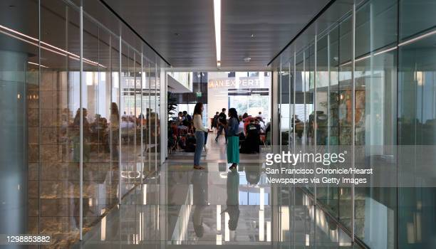 Glass footbridge connects two co-working spaces in Amazon�s AWS Loft in San Francisco, Calif. On Thursday, April 25, 2019.