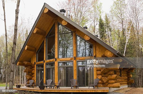 glass fronted eastern pine log cabin, grandes piles, mauricie, quebec, canada - eastern white pine stock pictures, royalty-free photos & images
