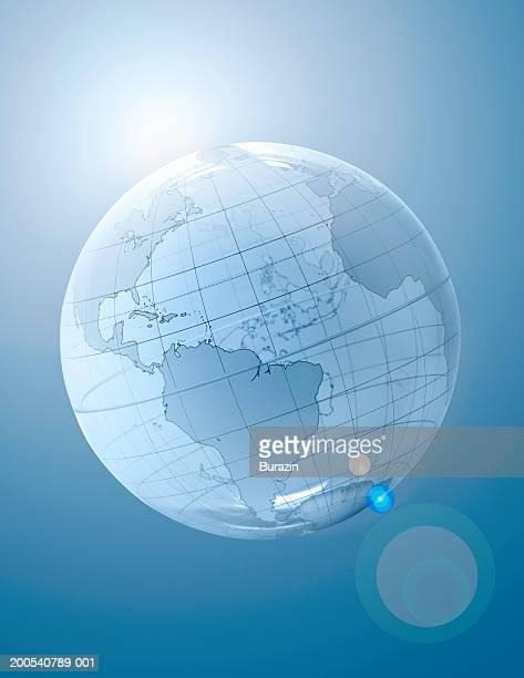 glass globe, close-up - längengrad stock-fotos und bilder