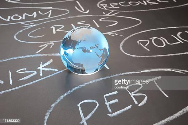 Glass globe on chalkboard with debt crisis flowchart.
