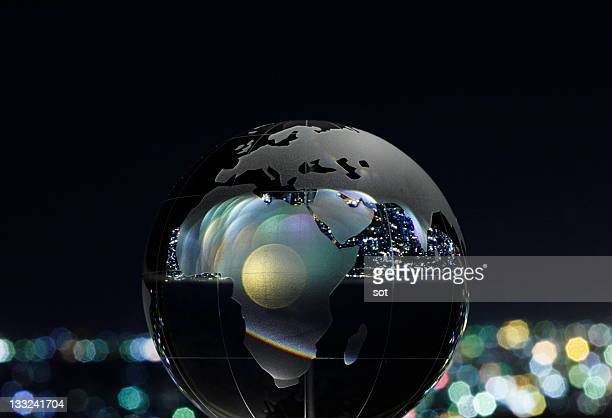 Glass globe,night view background