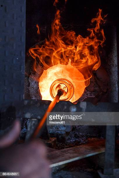 Glass heated in a furnace