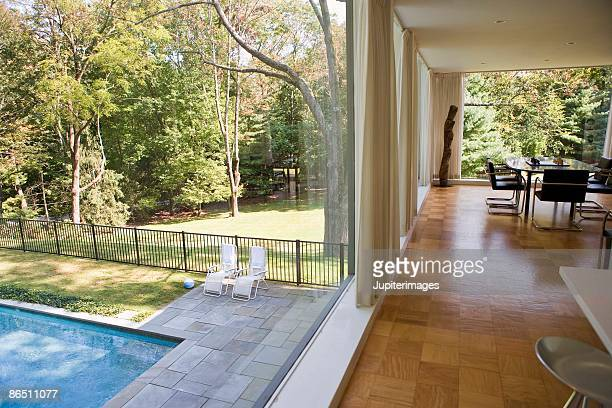 glass house with swimming pool - westchester county stock pictures, royalty-free photos & images