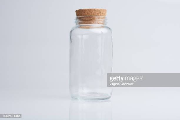 glass jars - cork stopper stock photos and pictures