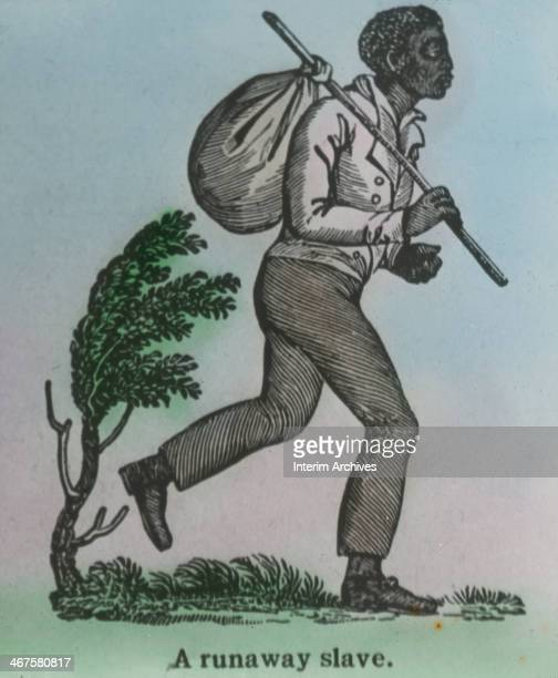 Glass lantern slide illustration depicts a fugitive slave early to mid nineteenth century