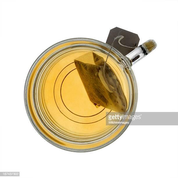Glass Mug Teacup and Steeping Tea Bag