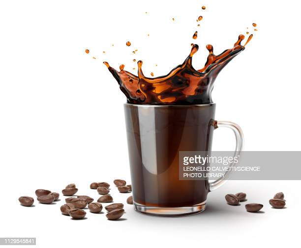 glass mug with coffee splash and coffee beans, illustration - caffeine stock pictures, royalty-free photos & images