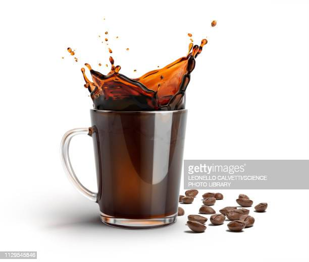 glass mug with coffee splash and coffee beans, illustration - mocha stock pictures, royalty-free photos & images