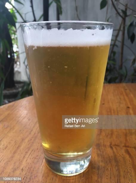 glass of beer in a bar restaurant - rafael ben ari fotografías e imágenes de stock