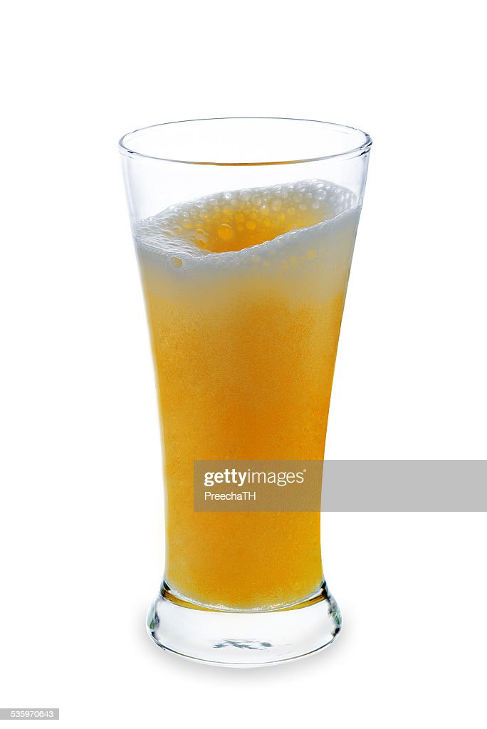 Glass of beer isolated on a white background : Stock Photo