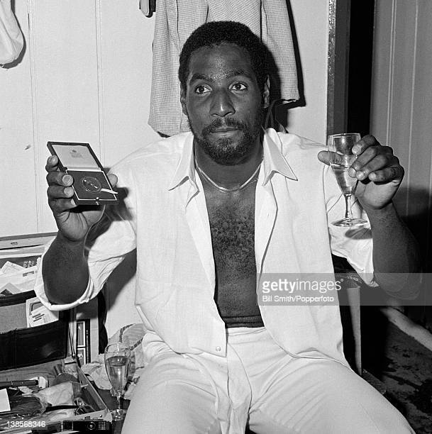 Glass of champagne and the Man of the Match award for Viv Richards of Somerset after his performance in the Gillette Cup semi-final against Essex at...
