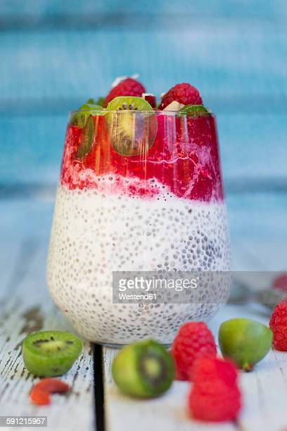 Glass of chia pudding with cocos, raspberry sauce and several fruits