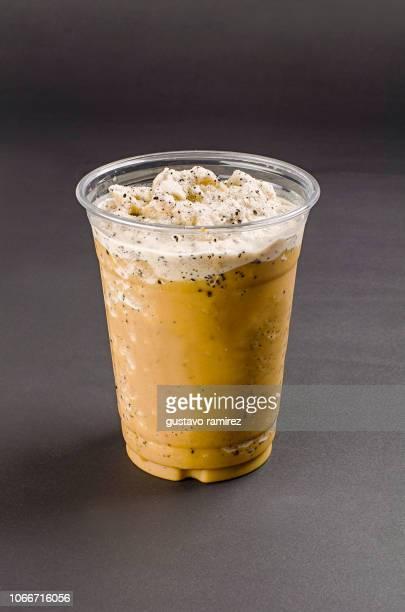 glass of coffee slush milkshake smoothie - slush stock photos and pictures