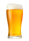 Glass of cold beer with condensation