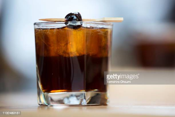 A glass of cold brew coffee is seen in the Starbucks Reserve Roastery Tokyo store during a preview on February 27 2019 in Tokyo Japan Starbucks Corp...