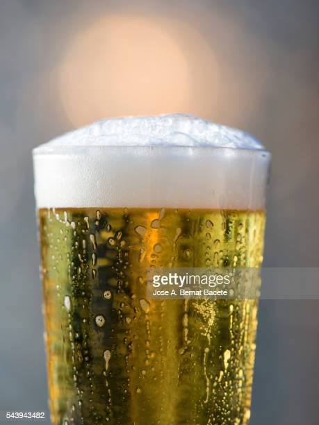 Glass of crystal of beer illuminated by the light of the Sun.