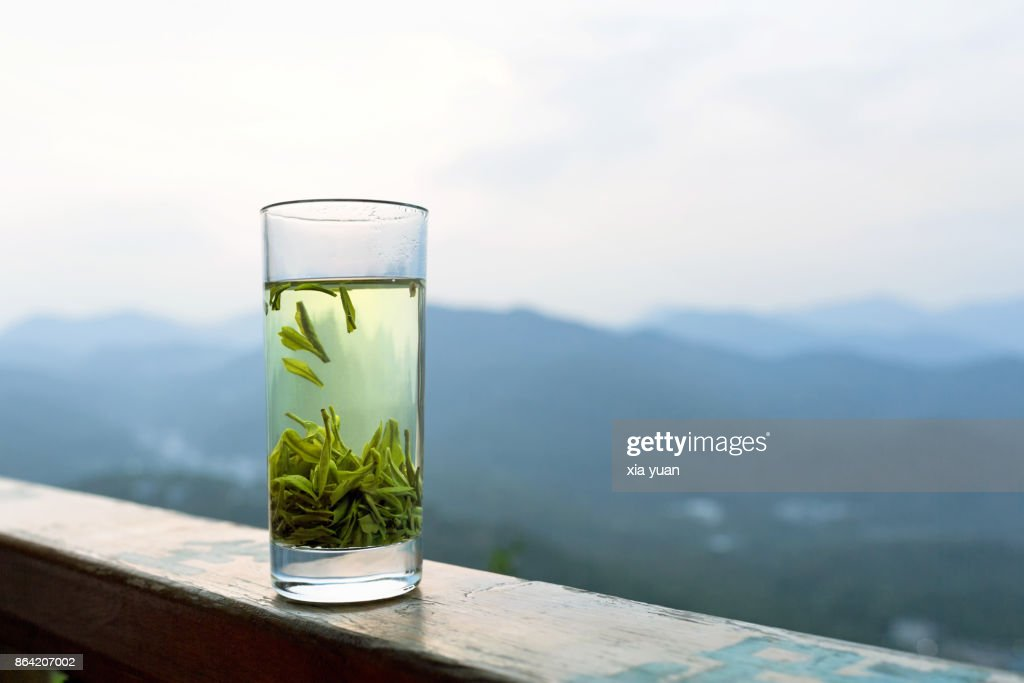 Glass of green tea,Hangzhou,China : Stock Photo