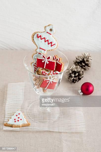 Glass of home-baked Christmas cookies