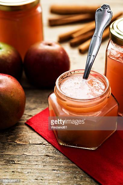 Glass of homemade applesauce