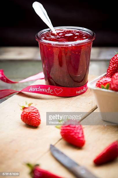 Glass of homemade strawberry jam