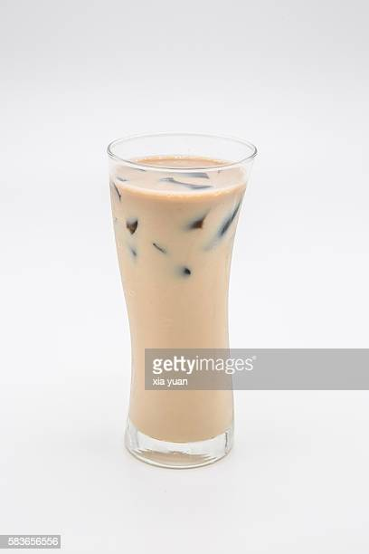 Glass of Iced Milky Tea with Guiling Jelly (Guilinggao)