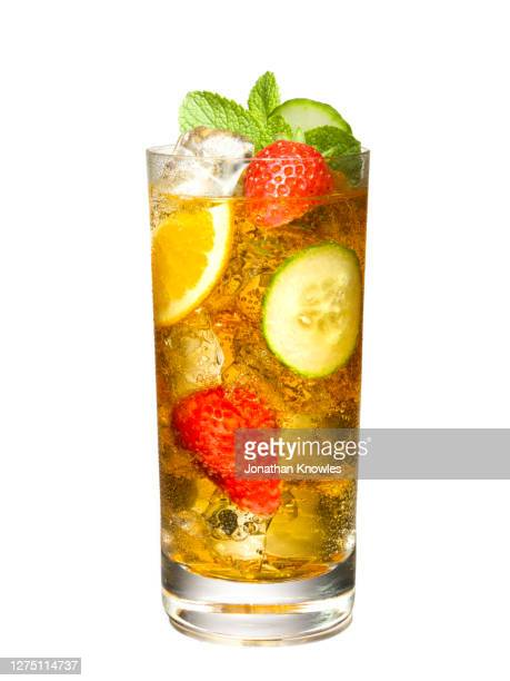 glass of iced tea with fruit - mint leaf culinary stock pictures, royalty-free photos & images