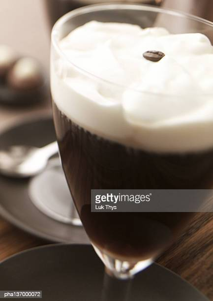 glass of irish coffee, close-up. - coffee drink stock pictures, royalty-free photos & images