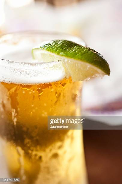glass of mexican beer - mexican beer stock pictures, royalty-free photos & images