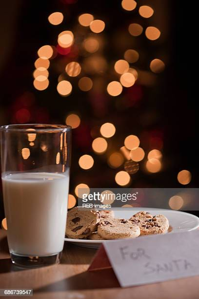 Glass of milk and plate of cookies for santa