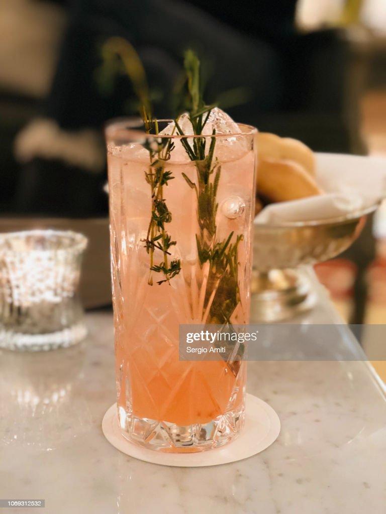 Glass of mountain gin fizz : Stock Photo