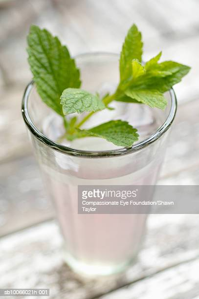 "glass of pink lemonade with mint on top, close-up - ""compassionate eye"" stock-fotos und bilder"