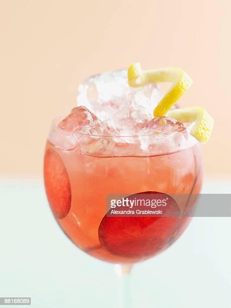Glass of plum sangria