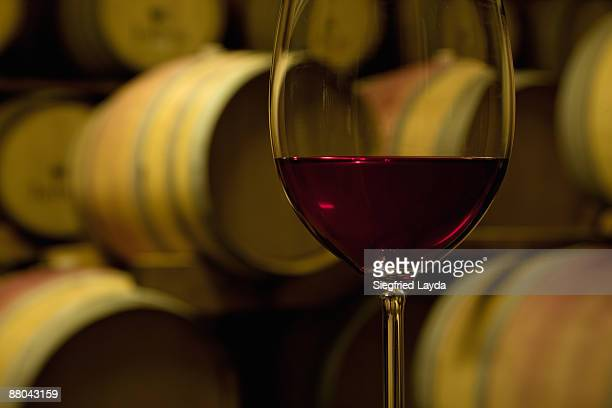Glass of red wine in wine cellar