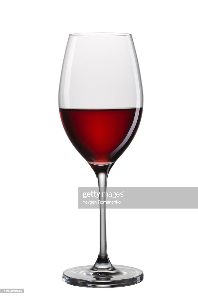 Glass of red wine isolated on white background : Stock Photo