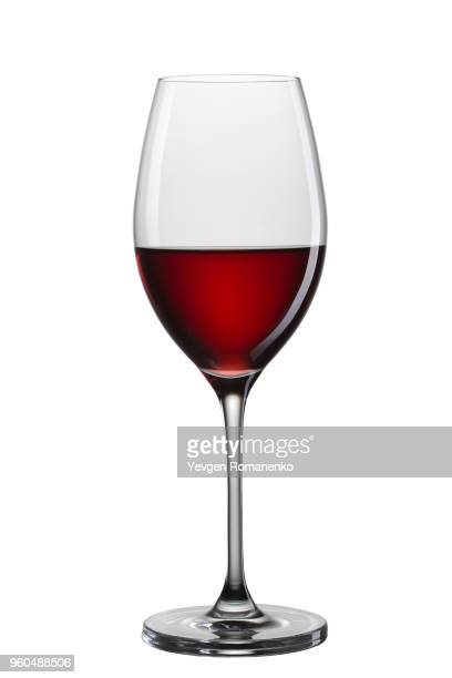 glass of red wine isolated on white background - wine glass stock pictures, royalty-free photos & images