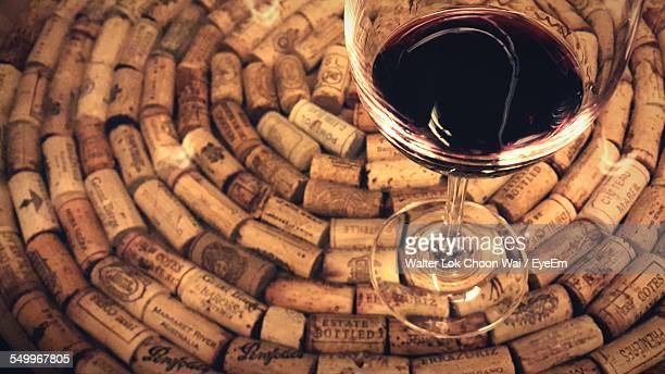 Glass Of Red Wine On Corks