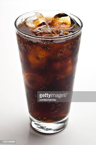 glass of soda with ice cubes
